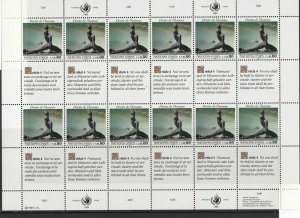 United Nations 1989 Human Rights Mint Never Hinged Stamps Sheet R18439