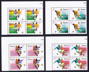 Macao Macau World Cup Football Championship 4v Corner Blocks of 4 1998 MNH