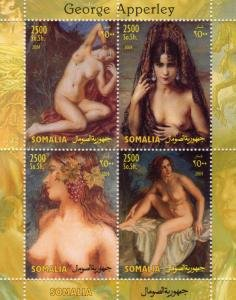 Somalia 2004 GEORGE APPERLEY Nudes Paintings Sheet (4) Perforated Mint (NH)