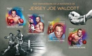 Central Africa 2014 Boxer Jersey Joe Walcott 4 Stamp Sheet 3H-729