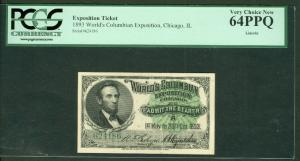 """1893, Columbian Exposition Ticket """"Lincoln"""", PCGS Grade 64PPQ, Very Choice New"""