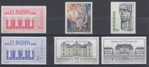 Sweden Sc 1027/1876 MNH. 1975-1991 issues, 6 different, VF