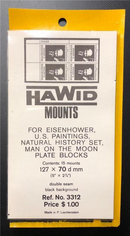 Stamp Mounts Supplies Hawid New 15 mounts 127mm by 70mm Black back precut