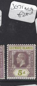 LEEWARD ISLANDS (P1710B) KGV 5D SG 71    MOG