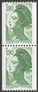 FRANCE 1983 Sc 1895 MNH  VF 1,90F green Liberty Coil pair