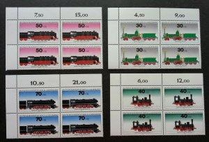 Germany Berlin Locomotive 1975 Train Railway Transport Vehicle (stamp blk 4) MNH
