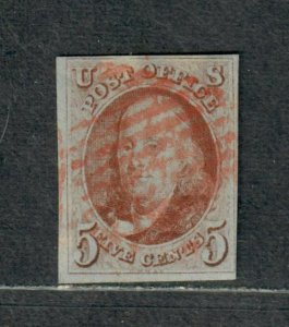 US Sc#1d Used/VF, Brown-Orange Weiss Cert., Cv. $1000
