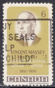 Canada 491 USED 1969 Vincent Massey 6¢