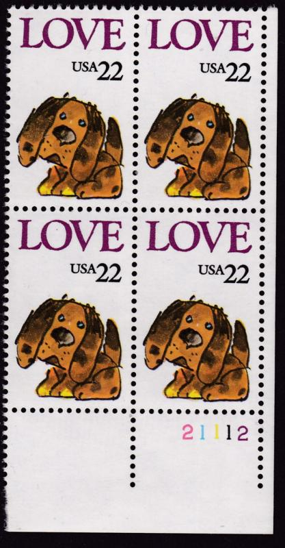 U.S. 1986 Love Stamp Puppy Plate Number Block VF/NH