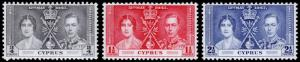 Cyprus Scott 140-142 (1937) Mint NH VF Complete Set, CV $7.75 C