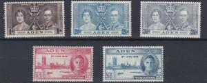 ADEN  1937 - 46   CORONATION & VICTORY SETS      MH