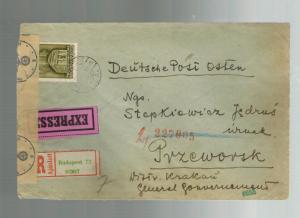 1942 Budapest Hungary  censored Express Cover to Przeworsk Ghetto Poland Judaica
