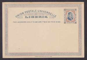 Liberia H&G 4 mint 1892 3c Pres. Benson Postal Card