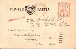 England > NYC HR Harmer Stamp Auction losing lot postcard 1940 Worlds Fair mark