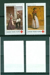 Denmark. 2 Poster Stamp  Danish Red Cross. National Costumes.Faroe Islands-Amron