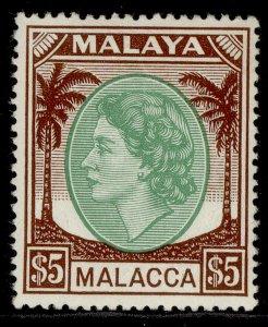 MALAYSIA - Malacca QEII SG38, $5 emerald & brown, LH MINT. Cat £26.