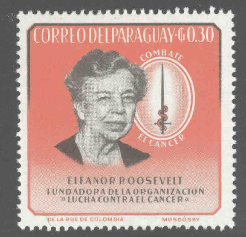 Paraguay Scott 830 Elanor Roosevelt combat cancer stamp