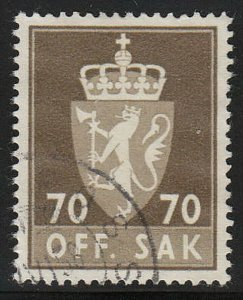 Stamp Norway Official Sc O076 1955 Dienst Coat Arms Used