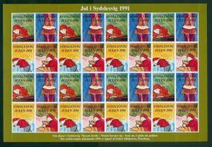 Denmark. Southslesvig Christmas Sheet 1991 Mnh. Santa, Rice Pudding