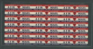 Ca 1956 Airmail Etiquette Block Of 21 Mint For Heart Disease Rare Size 63 X 13MM