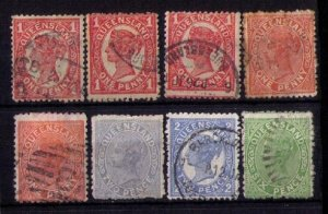 QUEENSLAND (Lot Of Eight) SCOTT #69,113 With Others Early Australian States F-VF