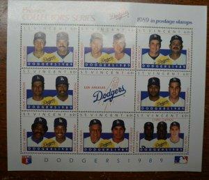 Baseball Stamps - Dodgers 1989 - 9 stamp Souvenir Sheet - St Vincent - MNH