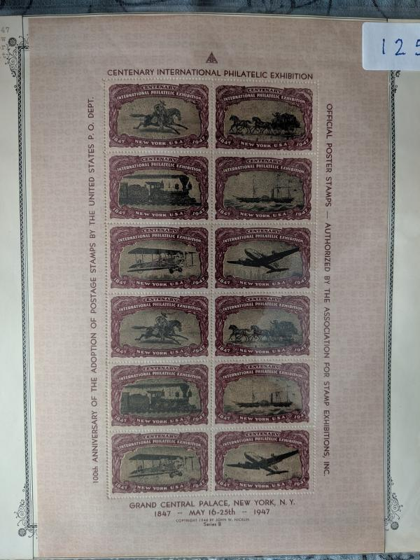 1947 Centenary Exhibition Poster Stamps XF full sheet, CV $125