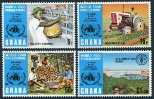Ghana 490-493,494 sheet,MNH.Michel 526-529,Bl.52. FAO 1973.World Food Program.