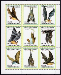 Turkmenistan 1999 BATS Sheetlet (9) #1 Perforated MNH