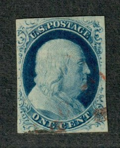 US Sc#9 Used/F-VF+, Face Free Red Cancel, Cv. $135