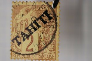 French Tahiti overprint sc#6 2c used cv$2500 Original or Forgery? Provisional