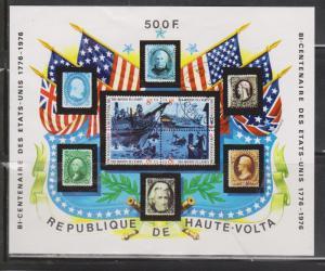 UPPER VOLTA Scott # C233 Mint Hinged - US Bi-centennial Souvenir Sheet