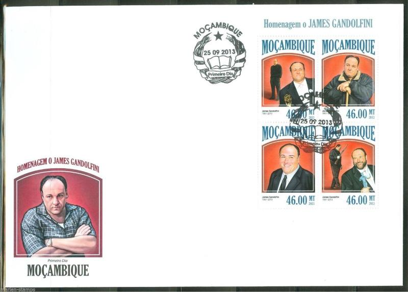 MOZAMBIQUE  2013 HOMMAGE TO JAMES GANDOLFINI  SHEET FIRST DAY COVER