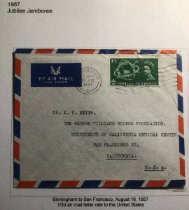 1957 Birmingham England Airmail Cover To University Of California San Francisco