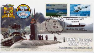 2015, USS Tucson, Submarine, 20 years Pictorial Postmark, 15-247