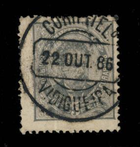 PORTUGAL 1886 MiNr.54ybB 5R GREY-BLACK CHALK SURF. PAPER CANCELED VIDIGUEIRA