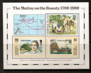 NORFOLK ISLAND SGMS464 1989 MUTINY ON THE BOUNTY MNH