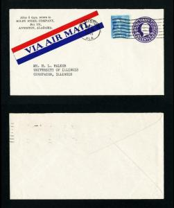 Air Mail Cover from Kilby Steel, Anniston, AL to Champaign, IL dated 8-1-1946