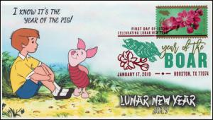 19-026, 2019, Year of the Boar, Pictorial  Postmark, FDC, Lunar New Year
