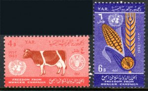 Yemen 162-163, MNH. FAO Freedom from Hunger campaign, Milk cow, 1963