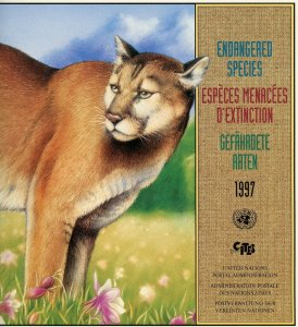 UNITED NATIONS 1997 ENDANGERED SPECIES OFFICIAL FOLDER WITH MINT STAMPS AS ISSUE