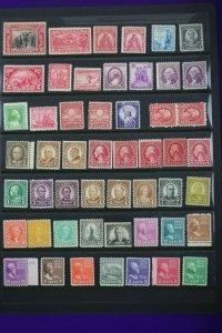 US Mint postage stamp page lot MLH or MNH OG
