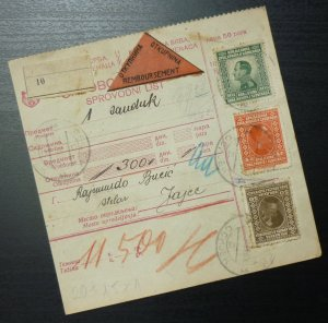 Yugoslavia 1928 Parcel Card from Osijek Croatia to Jajce Bosnia A4