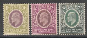 EAST AFRICA AND UGANDA 1907 KEVII 10C 12C AND 25C