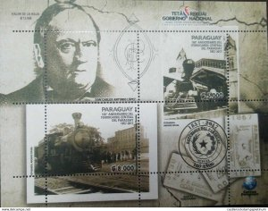 L) 2017 PARAGUAY, 160th ANNIVERSARY OF THE CENTRAL RAILWAY OF PARAGUAY, CARLOS A