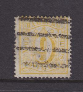 Hamburg Mi 18 used 1864 9s yellow Numeral, Cert.