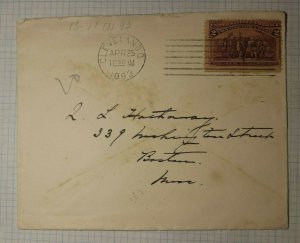 US Sc# 231 Used On COver 1893 Cleveland OH Machine Cancel Boston MA