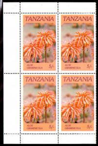 TANZANIA 316 MH BLOCK/4 SCV $1.00 BIN $0.50 FLOWERS
