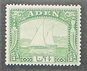 Aden 1. 1937 1/2a Light green Dhow