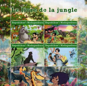 Malagasy Republic 2021 THE JUNGLE BOOK - DISNEY CHARACTERS Sheetlet (4) MNH